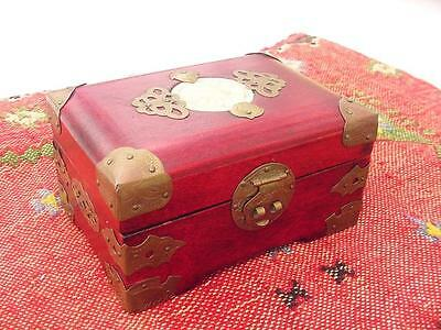 Antique PreWWII Shanghai China Wood and Brass Jewelry Box w/Carved Jade Medalion
