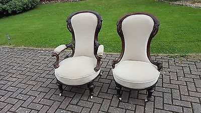 Superb Antique Victorian Salon Suite (Chaise and Two Matching Chairs)