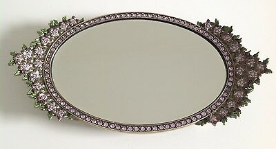 Two's Company Austrian Pink Crystal Vanity Table Mirror With Lavender Green