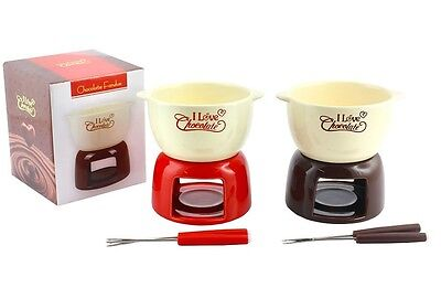 Chocolate Fondue Set Ceramic Red or Brown 2 Steel Forks 14 cm Tea Light New