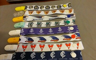 Dummy clip AFL Teams New pacifier chain binky dummies baby shower boys girls
