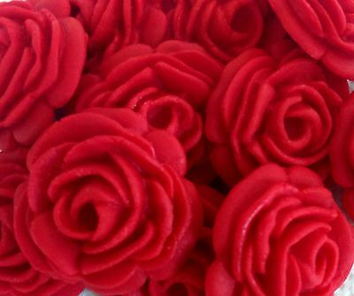 12 RUBY RED EDIBLE ROSES Sugar cake decoration topper