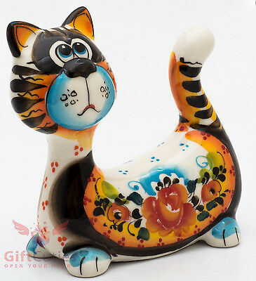 Cat kitty Collectible Gzhel style Porcelain Figurine hand-painted