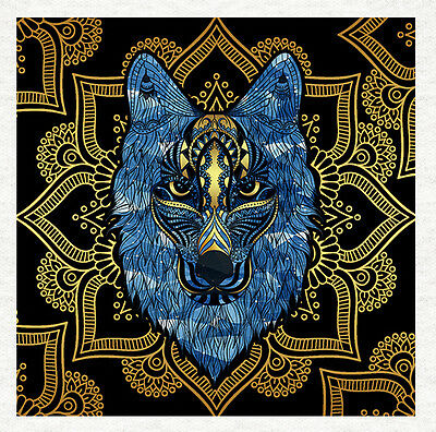Wolf Head Tangle Style Blue and Yellow- Fabric Upholstery Craft Quilting Panel