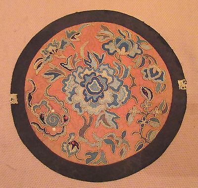 antique 1800's Chinese Qing D hand embroidered silk roundel needlepoint art