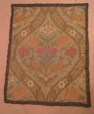 vintage ornate embroidered centerpiece table mat floral animal needlepoint