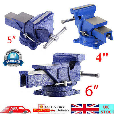 "4""/5""/6"" UK Quality Work Bench Vice Engineer Jaw Swivel Base Workshop Vise Clamp"