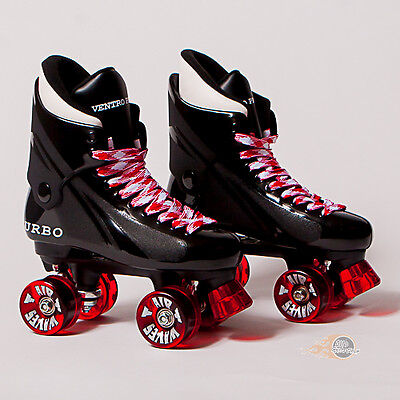 Ventro Pro Turbo Quad Roller Skate, Bauer Style - Clear Red Airwaves or Ventros