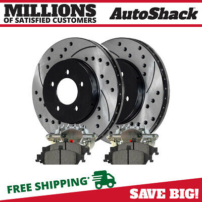 New Front Brake Calipers with Performance Rotors and Semi Metallic Pads Set