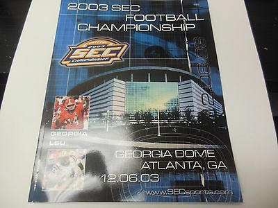 2003 Sec Championship Program Ncaa Football Rare Georgia Bulldogs Vs Lsu Tigers