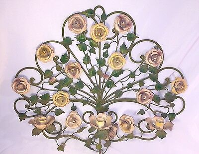 Vintage Italian Painted Metal Tole Wall Scroll Roses Candleholder Sconce Shabby