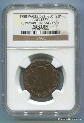 GREAT BRITAIN Anglesey Conder 1788 1/2d Dalton & Hamer 300 NGC MS63BN  Inv #1693