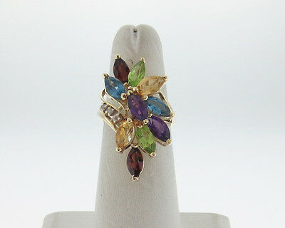 Natural Multi Color Gemstones Diamonds Solid 14k Yellow Gold Cocktail Ring