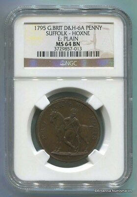 GREAT BRITAIN Suffolk Conder 1795 Penny Dalton & Hamer 6A NGC MS64BN  Inv #2908