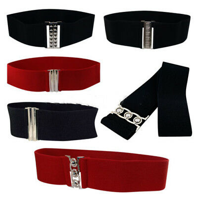 Lady Girl Waist Elasticated Wide Fashion Buckle Belt Belts Elastic Cat Walk