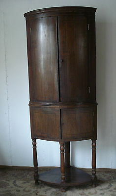 Antique Bow Front Corner Cupboard On Base Stand - Arts & Crafts? - Somerset Ta20