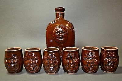 Brown Glazed Pottery Flask And 6 Shot Glass 2 Faced