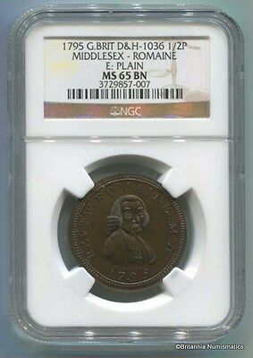 GREAT BRITAIN Middlesex Conder 1795 1/2d Dalton & Hamer 10 NGC MS65BN  Inv 1677