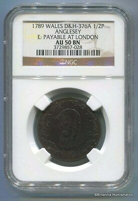 GREAT BRITAIN Anglesey Conder 1/2d Dalton & Hamer 376A NGC AU50BN  Inv 1695