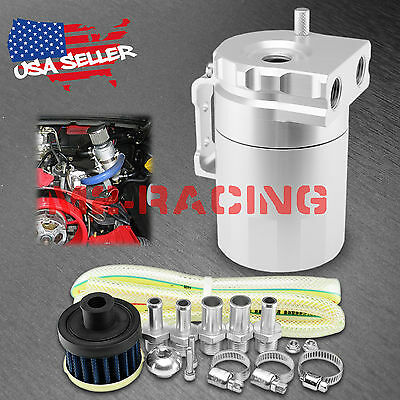 Silver Aluminum Engine Oil Catch Reservoir Breather Tank Can Cylinder Filter #3
