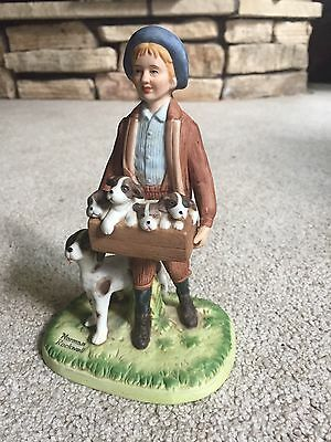 Puppy Love 1980 Norman Rockwell Museum Figurine Boy, His Dog, and Pups