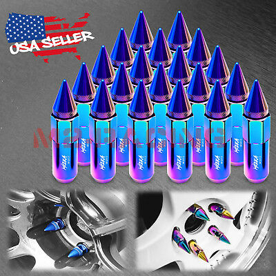 Neo Chrome 20 PCS M12X1.5mm Lug Nuts Spiked Extended Tuner Aluminum Wheels Rims