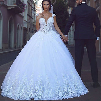 New Lace Appliques White Ivory Wedding Dress Bridal Gown Size 6-8-10-12-14-16-18
