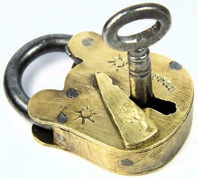 Antique Brass Padlock Rose Motif ' Secure ' with Key - My Ref P209