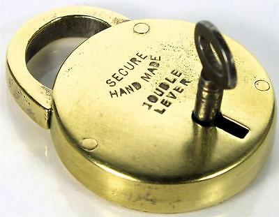 Antique Brass Padlock ' Hand Made ' with Key - Circular / Disc - My Ref P126