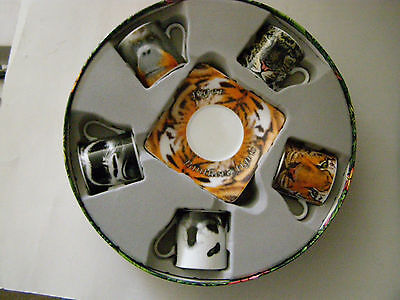 Paul Cardew Endangered Jungle AnimalsTea Set 5 Cups & Saucers  New 2009