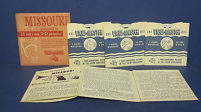 Vintage 1954 View-Master Viewmaster 3D Reel Packet Missouri COMPLETE M01 M02 M03