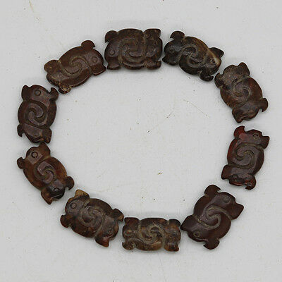 10pcs Chinese Oriental culture hand carved jade tube dragon beads bracelet C884