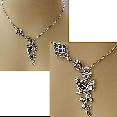 Silver Dragon Pendant Necklace Jewelry Handmade NEW adjustable Accessories