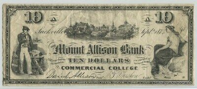 MOUNT ALLISON BANK Commercial College Scrip Sackville NB  $10. Inv #2911
