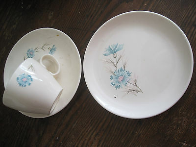 VTG Taylor Smith LOT 4 CUP/SAUCER/PLATES-TURQUOISE- EVER YOURS/Boutonniere-1960