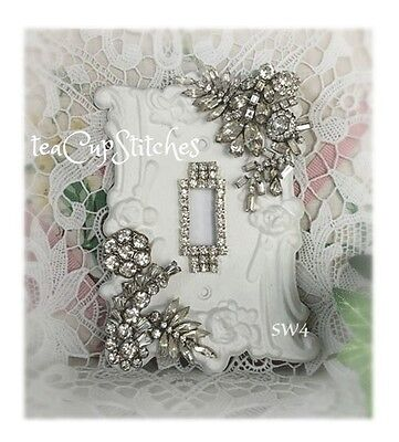 Shabby White~Vintage Jewelry~LIGHT SWITCH PLATE COVER~Rhinestones~Earrings~SW4