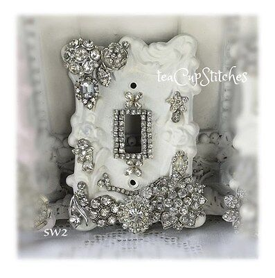 Chic Shabby White~Vintage Jewelry~LIGHT SWITCH PLATE COVER~Roses~Earrings~SW2