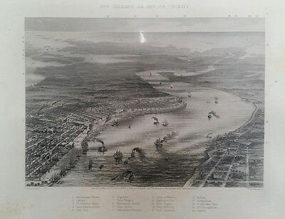1863 New Orleans, LA and it's Vicinity Map11×8. Rare