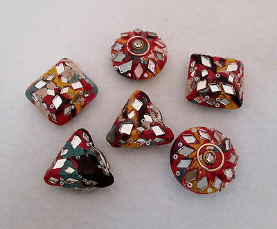 Set of 6 Vintage 1990 Click-Its Button Covers - Orange Multi Mirrored