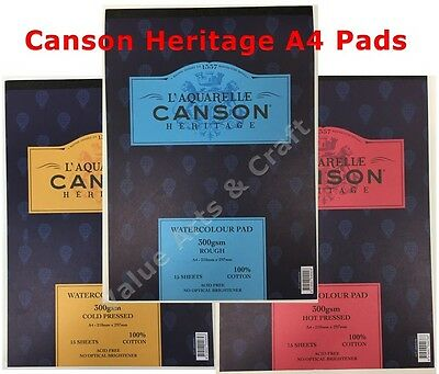 Canson Heritage Watercolour Paper A4 Pad 300gms (Smooth, Medium, Rough)