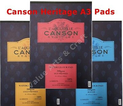 Canson Heritage Watercolour Paper A3 Pad 300gms (Smooth, Medium, Rough)