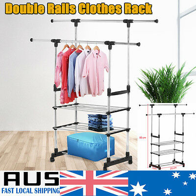 Double Rail Adjust Clothes Garment Rolling Collapsible Rack Hanger 3 Tier Stand