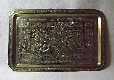 Antique Hand Cut and Etched Brass Tray Oriental Motif