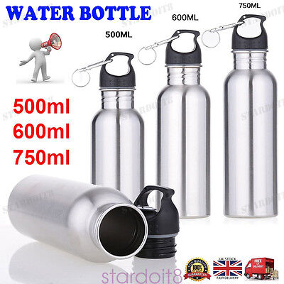 500/600/750ml Stainless Steel Wide Mouth Drinking Sports Cycle Water Bottle