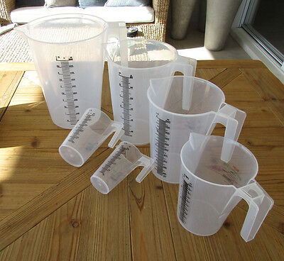 Plastic Measuring Jugs POLYPROPYLENE 250ml 500ml 1L 2L 3L 5L