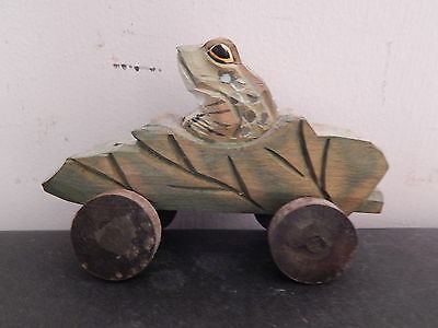 Hand Carved Frog in a Leaf Car Wood Carving