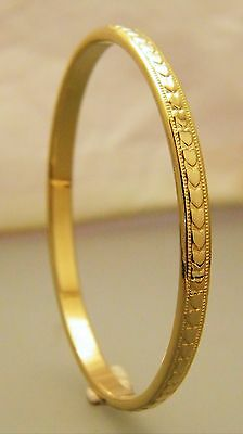 Gold Heart Pattern Child's Fashion Creola Bangle 22ct Gold Plated 48mm - 1 7/8""