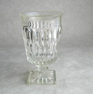 Indiana Glass Mt Vernon Iced Tea Goblet Pale Yellow Band Rim 6-in Stemmed Mount