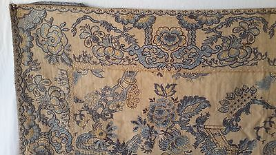 """Antique French Brocade Jacquard Damask Fabric 32"""" Finished Square Chinoiserie"""