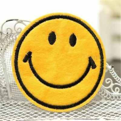 Happy Smile Face Yellow Iron On Applique Embroidered Patch DIY Sewing x1